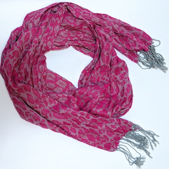 New York & Company Accessories - New York & Co. Hot Pink Sparkly Leopard Scarf